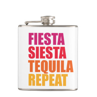 Fiesta, Siesta,Tequila Bachelorette Vacation Hip Flask