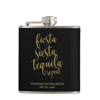 Fiesta Siesta Tequila Repeat Glitter Bachelorette Flask