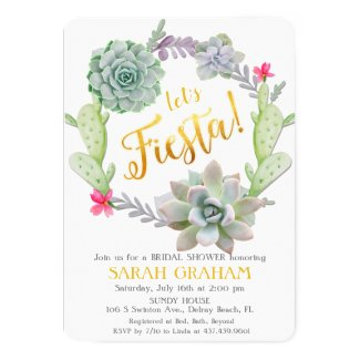 Fiesta Succulent Wreath Bridal Shower Invitation