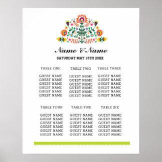 Fiesta Table Plan Wedding Day Poster Seating