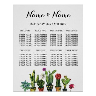 Fiesta Table Plan Wedding Poster 8 Seating Cactus