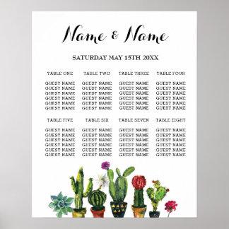 Fiesta Table Plan Wedding Poster 8 Seating Cactus