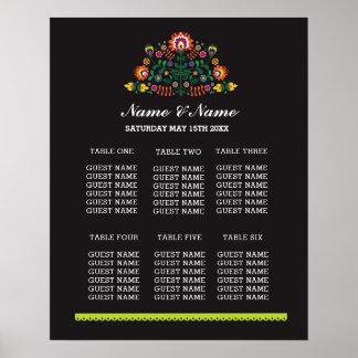 Fiesta Table Wedding Day Poster Seating Plan