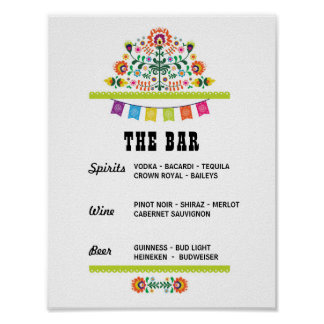 Fiesta The Bar Party Event Sign Engagement Shower Poster