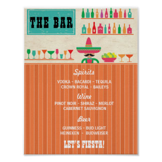 Fiesta The Bar Party Event Sign Wedding Reception Poster