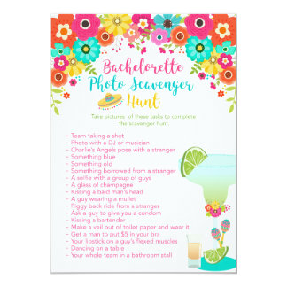 Fiesta Theme Bachelorette Party Scavenger Hunt Card