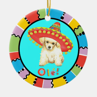 Fiesta Toy Poodle Round Ceramic Ornament