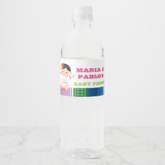 Fiesta Water Bottle Labels, Baby Shower Girl Water Bottle Label