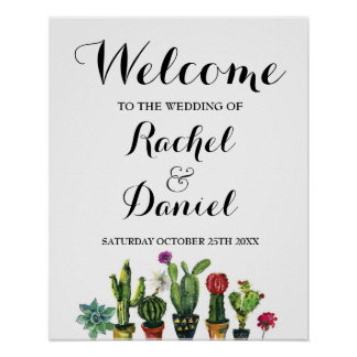 Fiesta Welcome Poster Wedding Mexico Cactus Poster