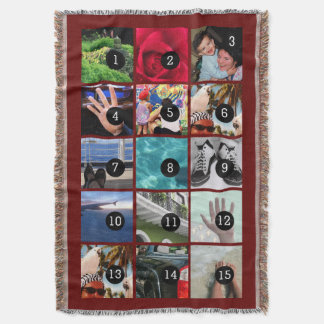 Fifteen of Your Photos Burgundy Your Own Original Throw Blanket