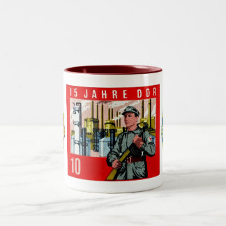 Fifteenth Aniversary of the Founding of the DDR. Two-Tone Coffee Mug