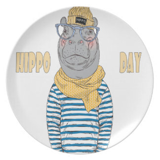 Fifteenth February - Hippo Day - Appreciation Day Dinner Plate