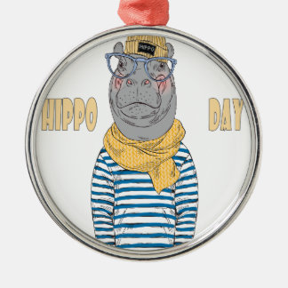 Fifteenth February - Hippo Day - Appreciation Day Metal Ornament