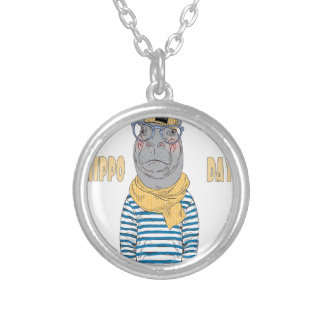 Fifteenth February - Hippo Day - Appreciation Day Silver Plated Necklace