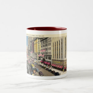 Fifth Ave., New York City Vintage Two-Tone Coffee Mug