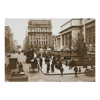 Fifth Avenue & New York City Public Library 1908 Poster