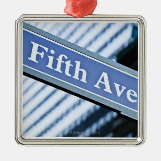 Fifth Avenue Silver-Colored Square Ornament