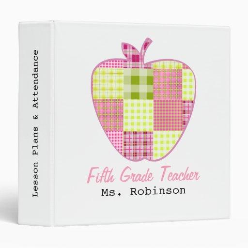 Fifth Grade Teacher Plaid Apple Vinyl Binders