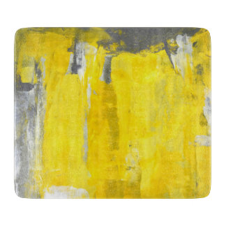 'Fifth' Grey and Yellow Abstract Art Cutting Boards