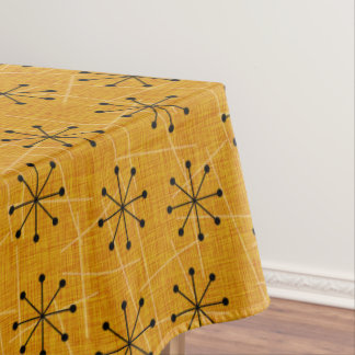 Fifties Atomic Starburst Pattern on Gold | Retro Tablecloth