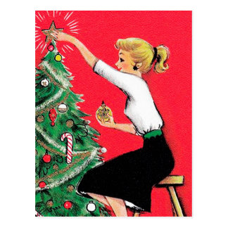Fifties Christmas Tree Trimmer Postcard