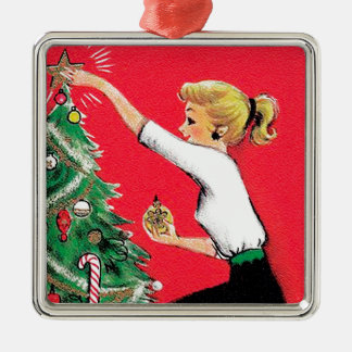 Fifties Christmas Tree Trimmer Silver-Colored Square Ornament