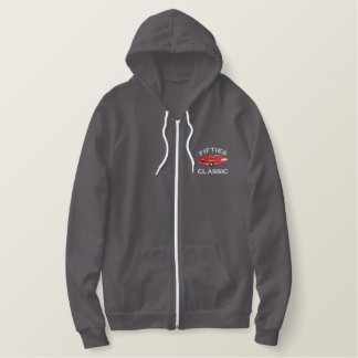 Fifties Classic Car Retro Vintage Embroidered Hoodie