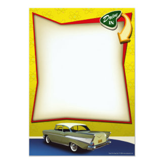 Fifties Hot Rod Drive In Party Invitations