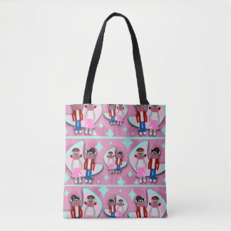 Fifties Sock Monkey Mania Tote Bag