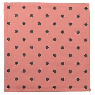 Fifties Style Coral Polka Dot Printed Napkin