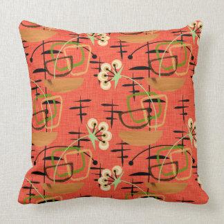 Fifties Style Houseplants | Atomic Patterns Throw Pillow