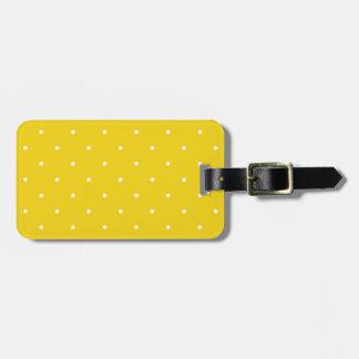 Fifties Style Lemon Yellow Polka Dot Luggage Tag