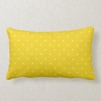 Fifties Style Lemon Yellow Polka Dot Lumbar Pillow