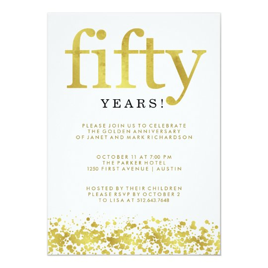 Fiftieth Wedding Anniversary Faux Gold Confetti Card