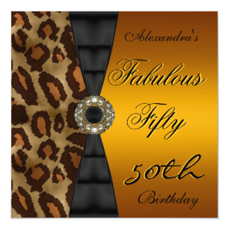 Fifty 50th Birthday Party Wild Black Yellow Gold Card