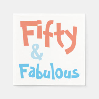 Fifty and Fabulous Birthday Party Napkins Paper Napkins