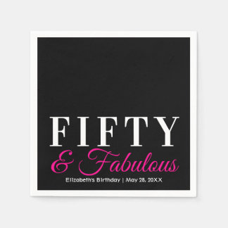 Fifty and Fabulous Elegant Hot Pink 50th Birthday Napkin