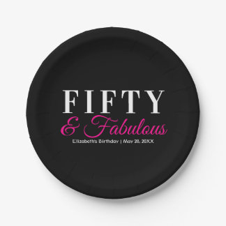Fifty and Fabulous Elegant Hot Pink 50th Birthday Paper Plate