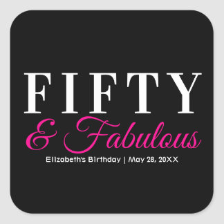 Fifty and Fabulous Elegant Hot Pink 50th Birthday Square Sticker