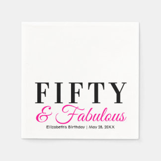 Fifty and Fabulous Fancy Hot Pink 50th Birthday Disposable Napkins