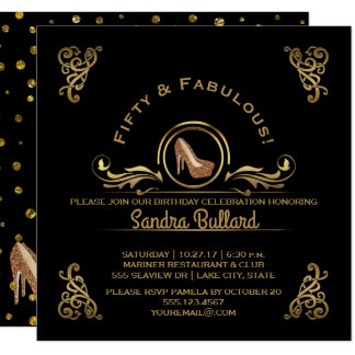 Fifty and Fabulous Gold High Heels Birthday Party Card