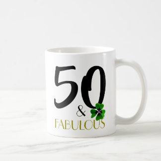 Fifty and fabulous mug in black and green