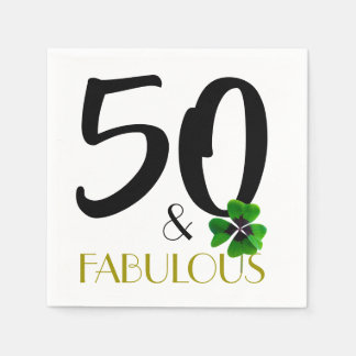 Fifty and fabulous party paper napkin