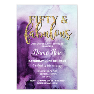 Fifty & Fabulous Birthday Party Purple 50th Invite