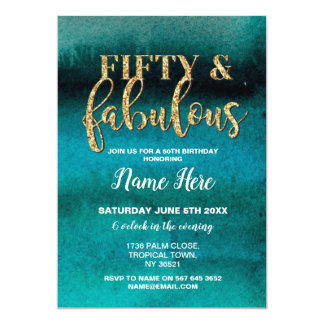 Fifty & Fabulous Birthday Party Teal 50th Invite