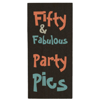 Fifty & Fabulous Birthday Party Wood USB Flash Drive