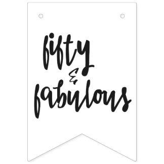 Fifty & Fabulous - Fun 50th Birthday Bunting Flags