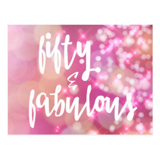 Fifty & Fabulous - Pink Glitter 50th Birthday Card