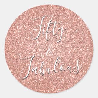 Fifty & Fabulous Rose Gold Blush Pink Glitter Classic Round Sticker