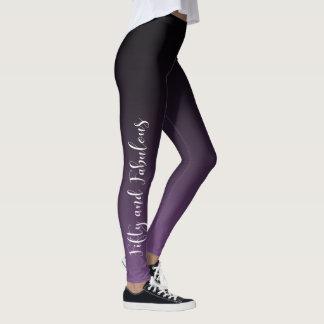 Fifty & Fabulous White on Purple & Black Ombre Leggings